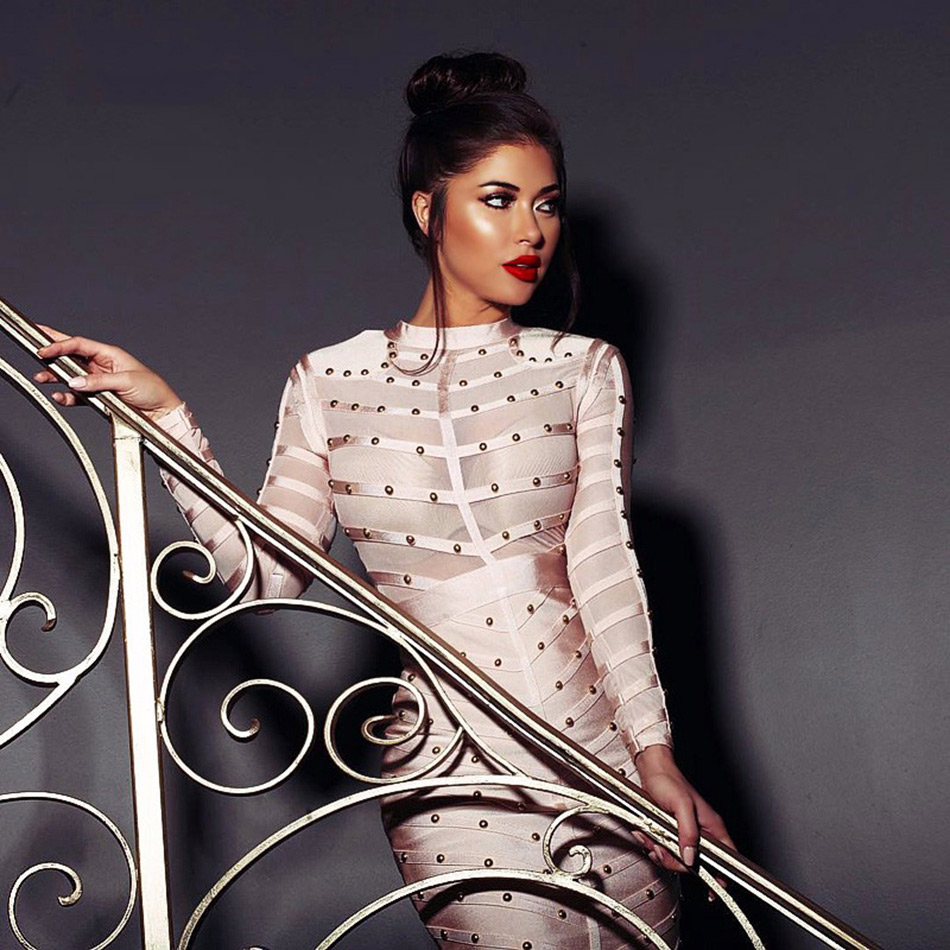Seamyla 2019 New Spring Celebrity Party Dress Women Knee Length Bodycon Dresses Sexy Mesh Long Sleeve