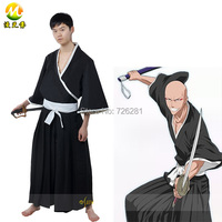 Anime Bleach Ikkaku Madarame Black Japanese Kimono Cosplay Costume For Adult Men Halloween Party Clothing Free Shipping