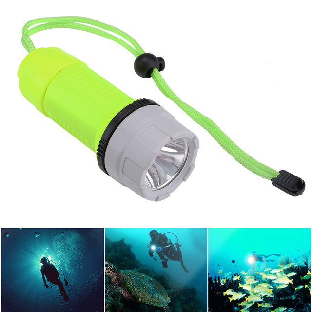 Sanyi LED Waterproof Scuba Diving Flashlight Underwater Diver Flash Light Torch With Tail Rope Powered By 3 x AA Battery