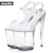 20cm Ultra high heel +9cm platform sandals Womens Transparent Clear Sandals Open toe Ankle Strap Buckle Shoes Sexual dance Shoes