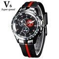 Vogue V6 Moda de Lujo reloj de Los Hombres Frescos de Neumáticos banda de silicona Negro Reloj Hombre Militar Analógica deporte Casual Reloj reloj de Regalo