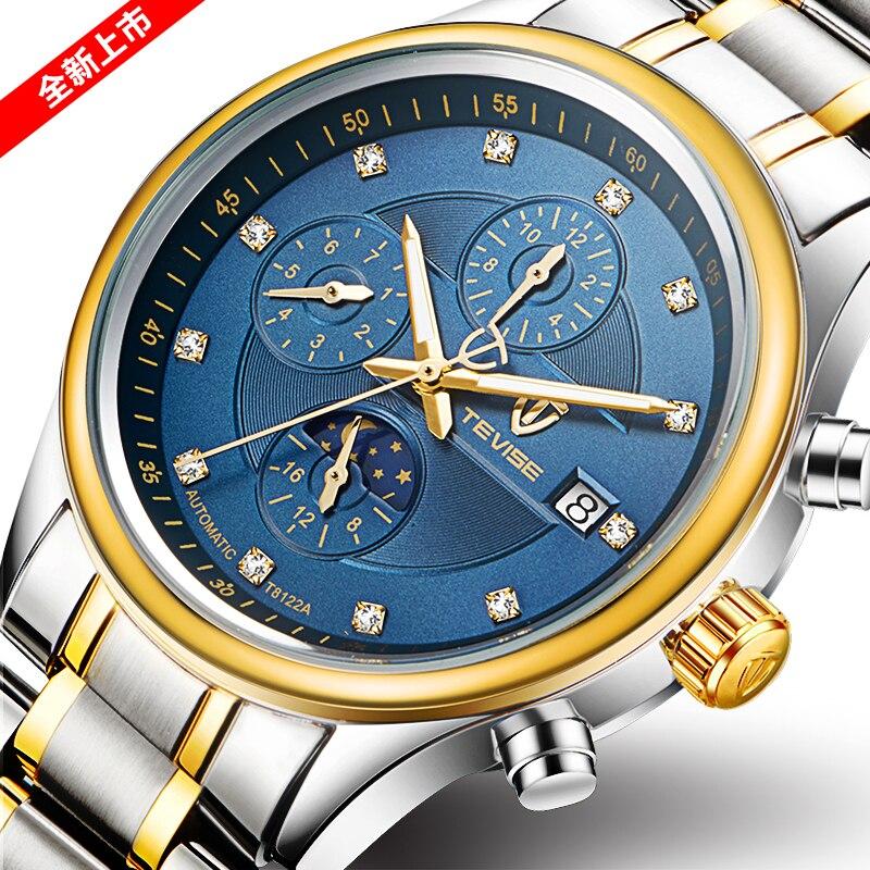 цена TEVISE Business Mechanical Watches Mens Automatic Watch Men Steel Calendar Waterproof Relojes Hombre онлайн в 2017 году