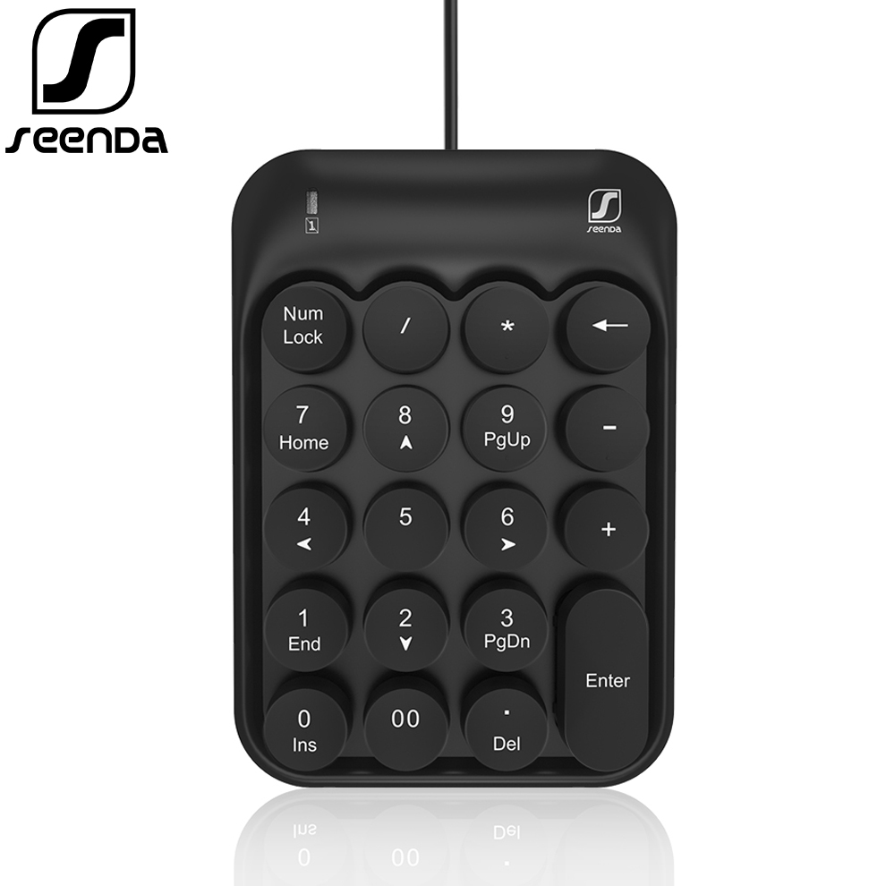 SeenDa New Wired USB Numeric Keypad 19 Keys Mini Number Pad Digital Keyboard for Mac Pro MacBook Air Laptop PC Notebook Desktop Keyboards    - title=