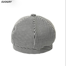White Berets Hat Women Cotton Houndstooth Flat Caps Female Plaid Casual Painters Cute Autumn French Artist