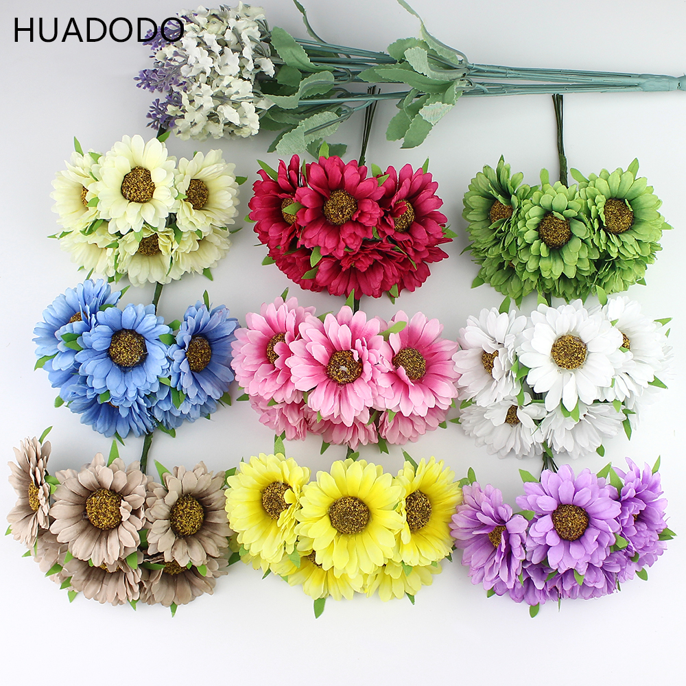 Huadodo Wholesale 60pcs 5cm Artificial Daisy Silk Flower Bouquet For