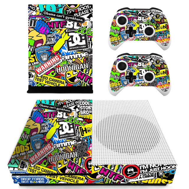 STICKERBOMB 420 Leaf Custom Vinyl Console Cover For Microsoft Xbox One SLIM Skin Stickers Controller Protective For XBOXONE S