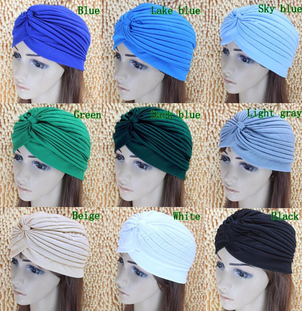 2016 New Fashion Women Turban Hat Bohemia 21 Solid Color Fold Beanies Female Simple Autumn Bonnet Indian Turban Hats For Women (41)