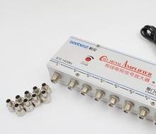 Antena de sinal amplificadora 1 em 8 para tv, ac 220v, 8 entradas, 20db catv vcr, tv, amplificador de sinal, divisor de reforço, 45mhz ~ 1000mhz