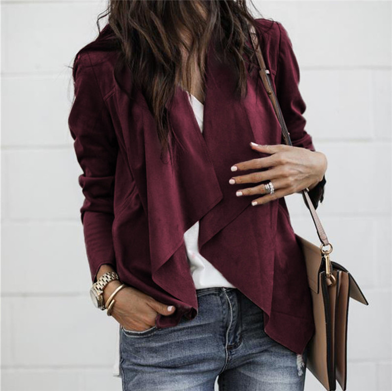 HTB192CUaAT2gK0jSZPcq6AKkpXaV Fashion Autumn Women Open Stitch Coat Long Sleeve Waterfall Ladies Cardigan Suede Coats Loose Asymmetric Casual Fall Jackets W3