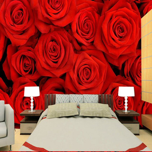 Photo Wallpaper Red Rose Bedroom Tv Sofa Background Wall Marriage Room Roses