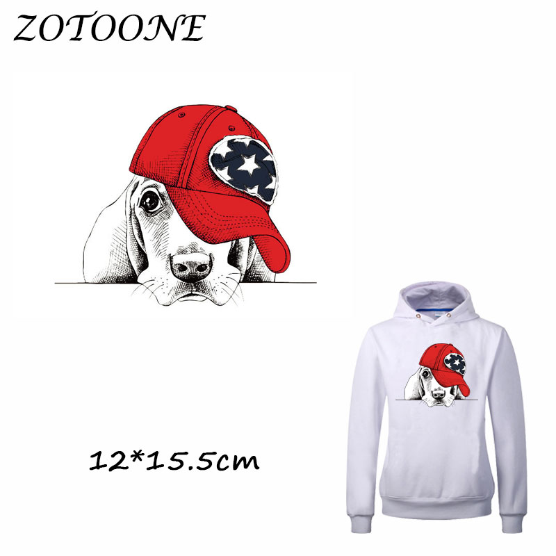 ZOTOONE Iron on Patches Hat Dog Patch Heat Transfer Patch for Clothing T Shirt Beaded Ap ...