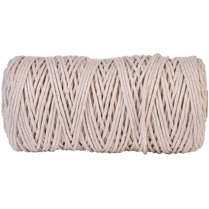 3Mmx200M Natural Handmade Cotton Cord Macrame Yarn Rope Diy Wall Hanging Plant Hanger Craft String Knitting