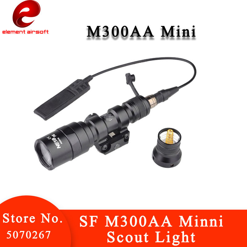 Element Choice Wargame SF M300AA Minni 200LM Tactical Flashlight Scout Light Aluminum Portable LED Torch Weapon Lights EX399(China)