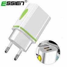 2 Port USB Phone Charger LED Light 5V 2.1A EU/US Plug Smart Fast Charging Adapte