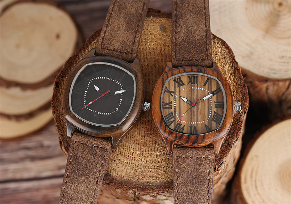 YISUYA Bamboo Wooden Watch Men Quartz Leather Band Analog Creative Watches Roman Numerals Dial Unqiue Shape Fashion Clock Gift (22)