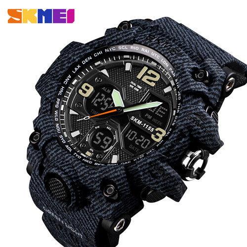SKMEI Luxury Denim Style Sports Watches Men Fashion Digital Quartz Watch Waterproof Casual Military Wrist Watch Clock Relogio  