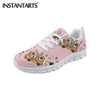 INSTANTARTS Student Teenager Girl Casual Cartoon Sneakers 3D School Bus Print Women Air Mesh Leisure Flats Shoes Ladies Shoes