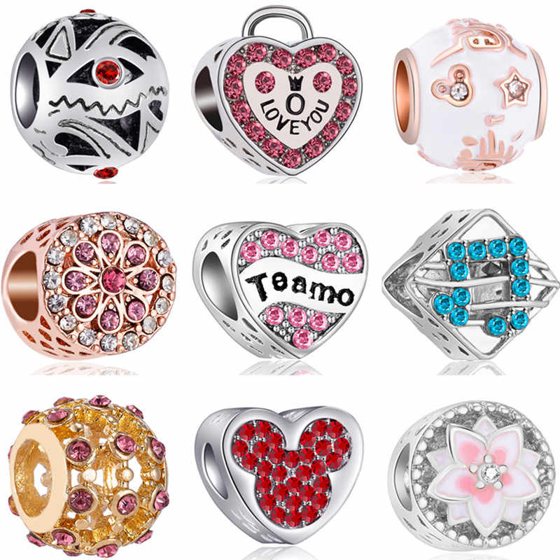 Party DIY Beads Shoes Bear Paw Lock High Heels Hearts Charms Beads Fit Pandora Bracelets Necklaces for Women Femme Colliers Gift