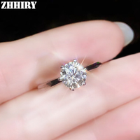 ZHHIRY Real Moissanite 925 Sterling Silver Ring For Women Rings 1ct 6.5mm D VVS1 Round Cut With Certificate Fine Jewelry