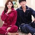 Outono dos homens e espessamento inverno flanela conjuntos de mulheres's long-manga Coreano casais cashmere coral serviço de casa