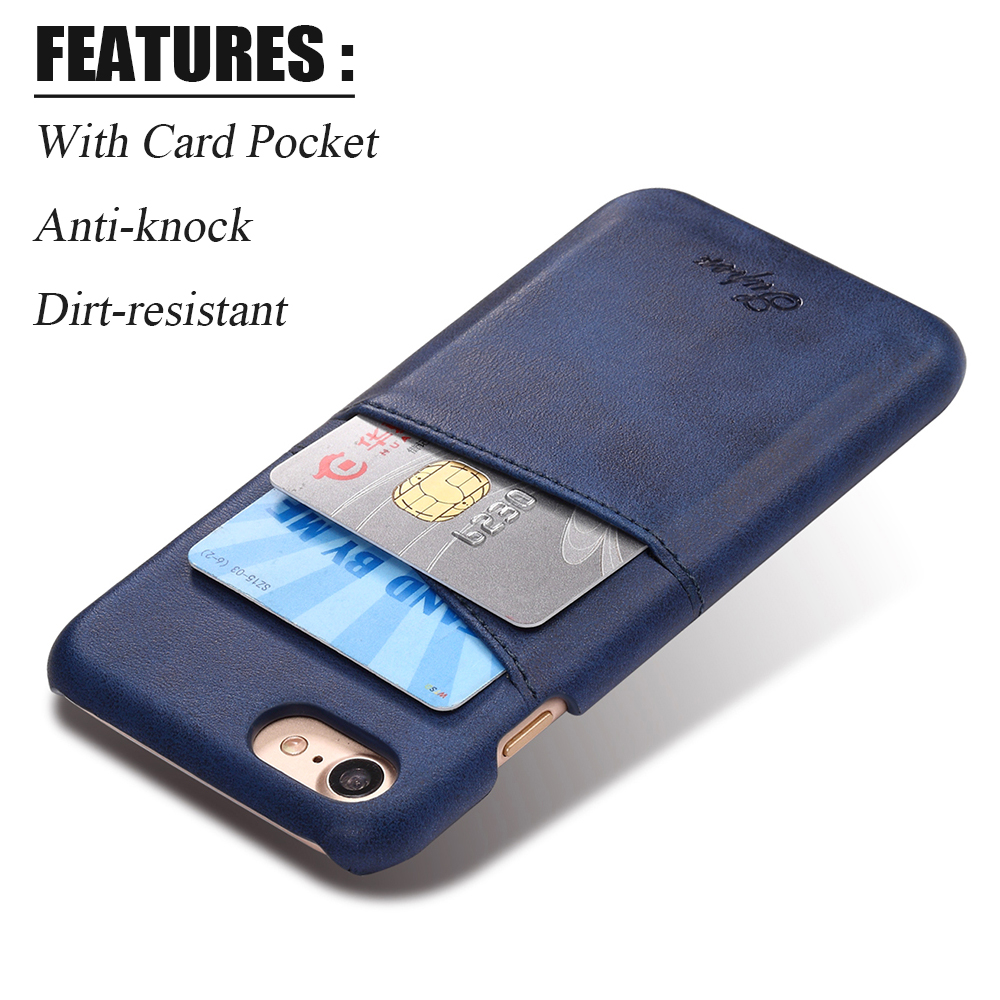 KIP71157L_1_Slim Leather Back Cover For iPhone 7 8 Cow Case Ultra Thin Wallet Card Holder Back Covers For iPhone 7 Plus 8 Plus