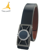 CNYANGCHENG Perfume Available Plate Buckle Black Men Leather Belt High Quality Edge Stitching Fashion Business