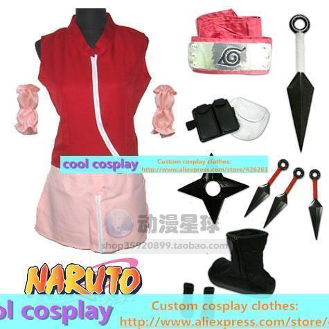 Naruto Haruno Sakura falda ropa zapatos conjunto completo cosplay Ropa ropa