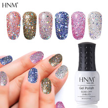 HNM Bling Glitter Paint 8ML Diamond UV LED Lamp Nail Gel Gellak Soak Off Enamel Gel Nail Polish Ink Semi Permanent Lucky Lacquer(China)