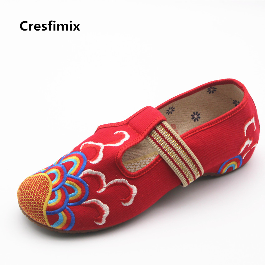 Cresfimix zapatos de mujer women cute slip on traditional dance shoes lady casual spring & summer flat shoes female soft shoes cresfimix women casual breathable soft shoes female cute spring