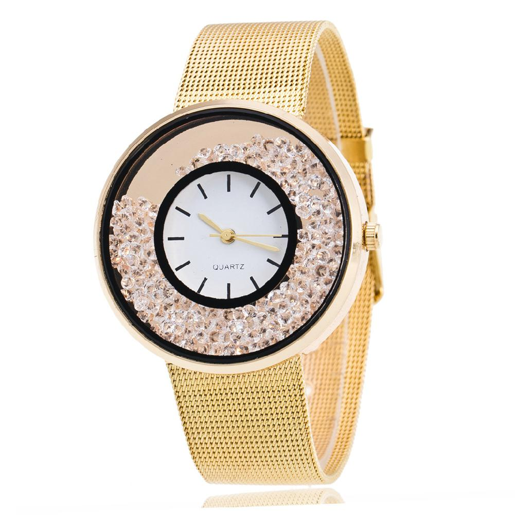 LinTimes Menina Mulher Moda Relógio Da Liga Movimento Eletrônico relógio de Pulso Casual com Movendo Rhinestone