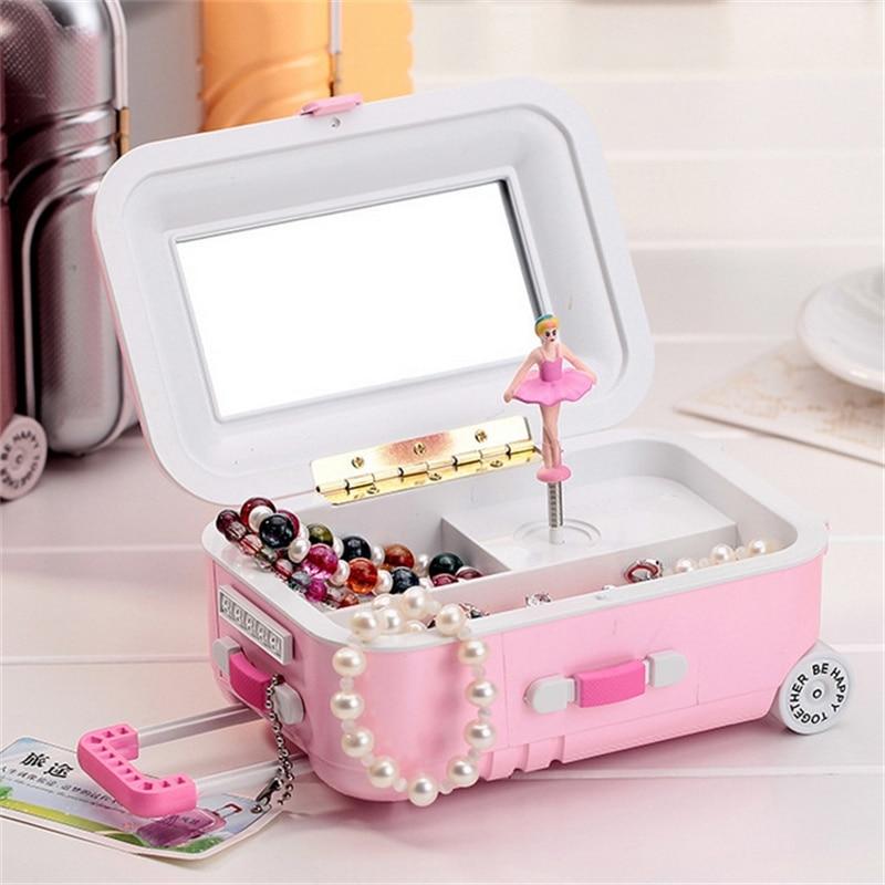Cute Creative Dancing Girl Princess Luggage Jewelry Box Music Box Jewelry  Earrings Necklace  Storage Box Gift Make Up Organizer