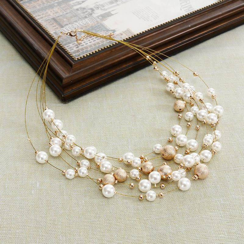 KMVEXO 2018 New Fashion Jewelry Gold Color Multi Layer Chains Imitation Pearl Necklaces For Women Party Wedding Bride Necklace 5