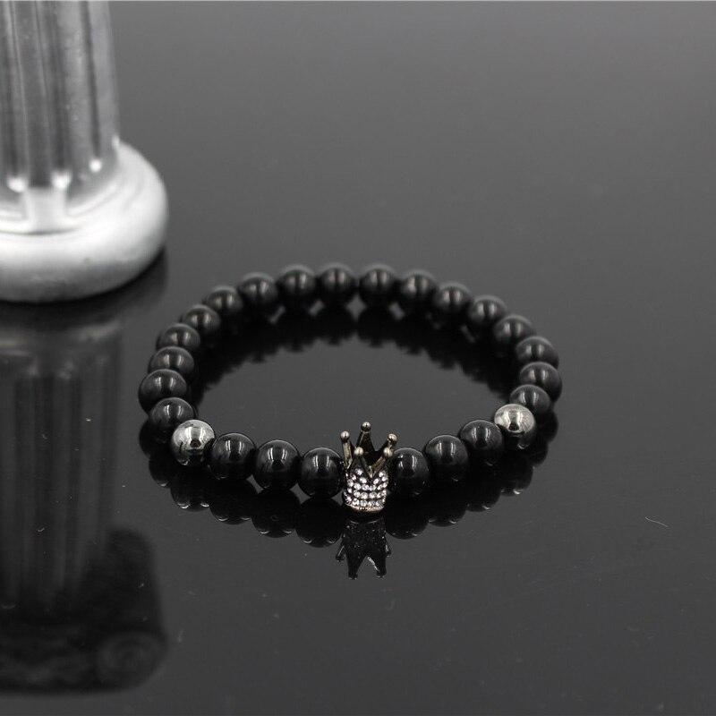 Fashion Geometric Charm Men Women Micro Inlay Crystal Crown Bracelet Natural 8mm Black Matte Onyx Stone Bead Elastic Bracelet in Charm Bracelets from Jewelry Accessories