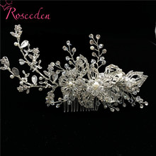 Elegant Pearl Rhinestone Wedding Bride Long Hair Combs Headpiece Handmade Flowers Ornaments Jewelry RE3085