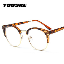 YOOSKE Women Retro Goggles Frames Glasses Transparent Optical Myopic Spectacle Semicircle Eye Glasses Frame Vintage Metal Frames