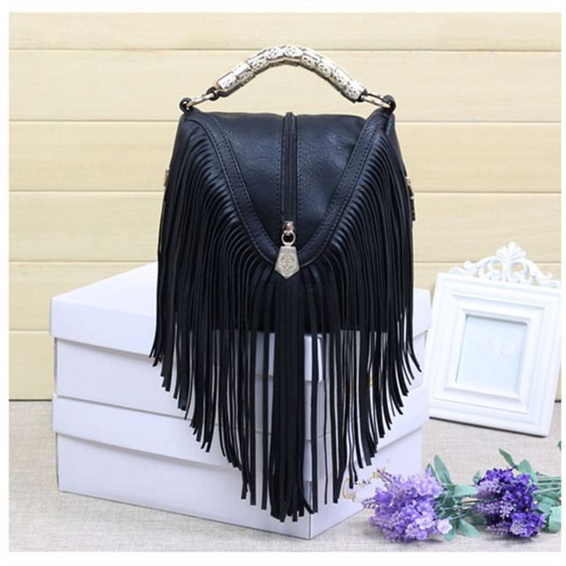 High quality Tassel mini Shoulder Bag Women Vintage Middle zipper Handbags Ringe Satchel small Crossbody Bag Bolsas Femininas