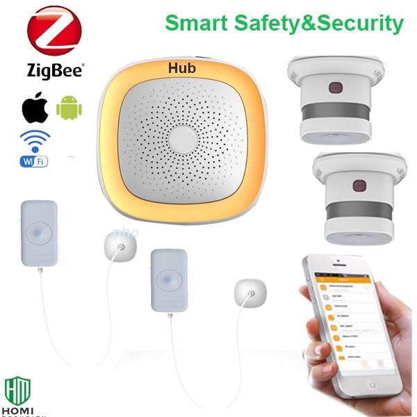 Wireless Zigbee Smart Home Fire+water Leakage Alarm System Wifi Push Zigbee Fire Water Leakage Sensor Alarm Message