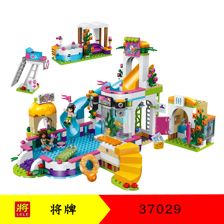 37029 The Heartlake Summer Pool Friends 41313 01013 Building Blocks Bricks Figure Toys Compatible with Legoingly Friends lepin building blocks model 01013 compatible legoing friends summer swimming pool 41313 educational toys for children