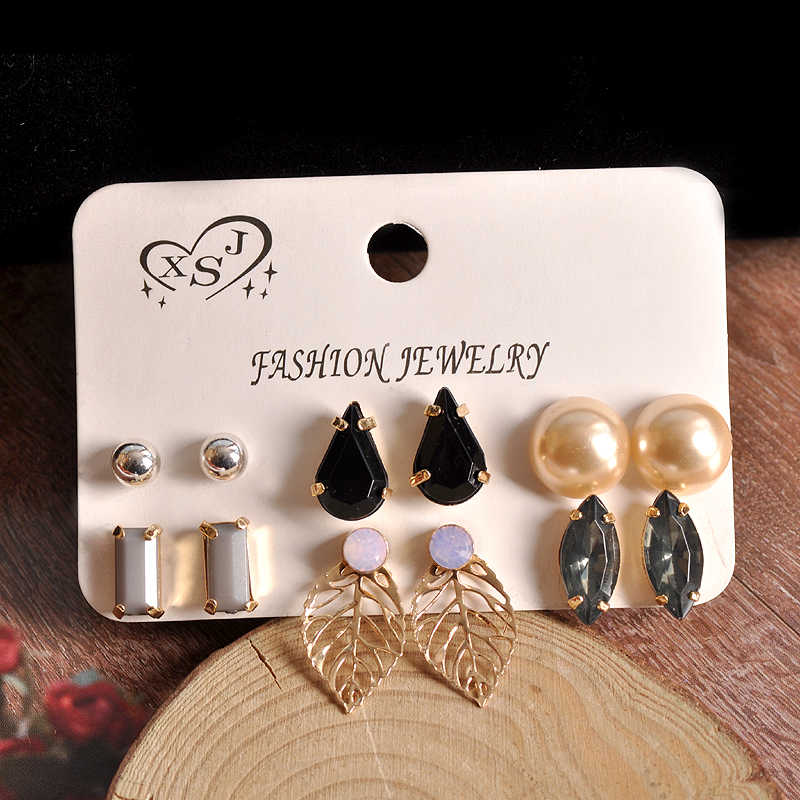Hot new fashion women's jewelry wholesale girls birthday party pearl earrings black gray suit leaves earrings free shipping.