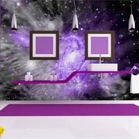 Оптовая продажа 3D стены, потолок росписи для ребенка номер Звездное Фиолетовое небо фрески диван Задний план 3d фото фрески виниловые обои