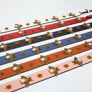 Image 3 - Mode or abeille bracelet en cuir PU sac à main accessoires remplacement large sac à bandoulière sangles femmes conception Corssbody sac sangle ceinture