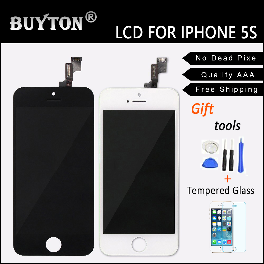 BUYTON 100% Brand New AAA For iPhone 5s 5g LCD Assembly with Touch Screen ,LCD Screen White and Black +Gift