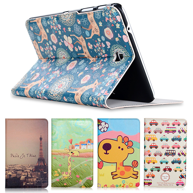 Fashion painted Pu leather stand holder Cover Case For Samsung Galaxy Tab 4 T330 T331 T335 8.0 inch Tablet + Gift