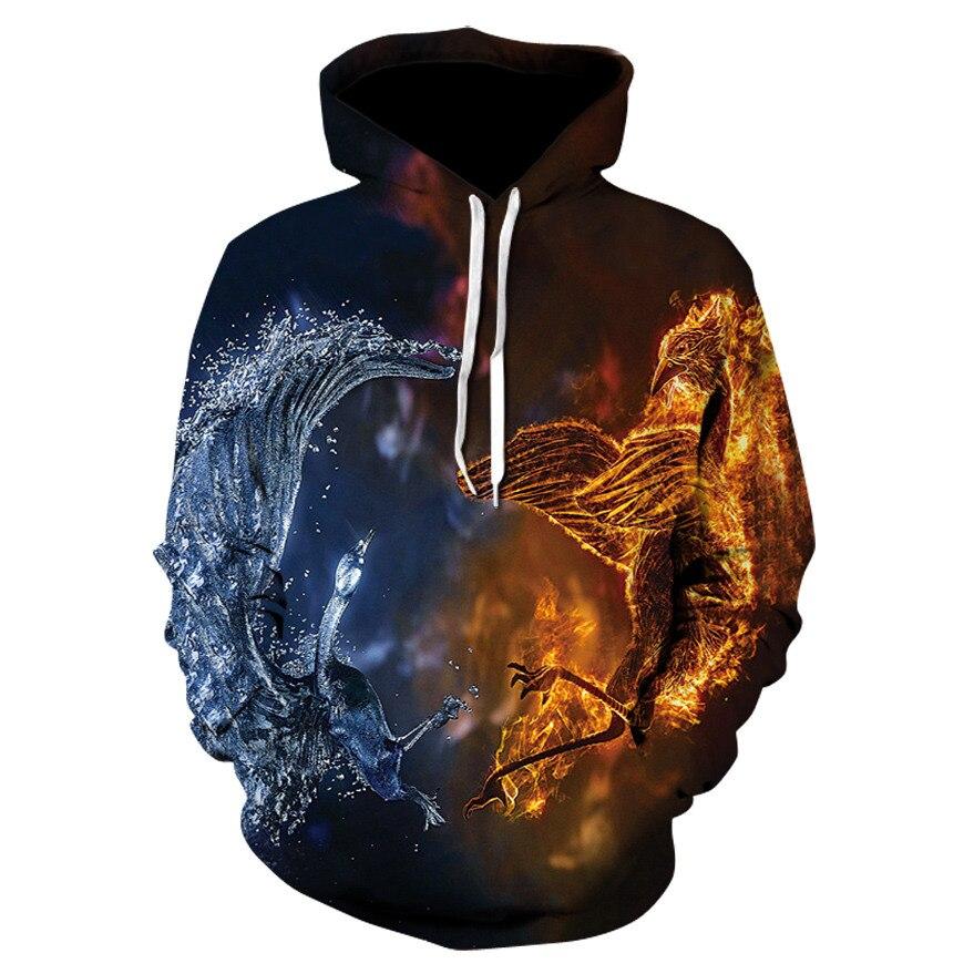 Men's Clothing Honesty Autumn Winter Sweatshirts Pullover Jackets 3d Hoodies Dinosaur Era Ice And Fire Pterosaur Print Streetwear Animal Series Hoodies Elegant And Sturdy Package