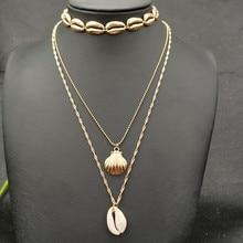 JCYMONG 3 шт./компл. винтажное Золотое серебро цвет оболочки колье ожерелье для женщин натуральный корпус подвеска с Каури ожерелье ювелирные изделия