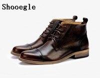 SHOOEGLE/модные мужские ботинки высококачественные кожаные итальянские черные коричневые Роскошные повседневные ботильоны мужские ковбойски