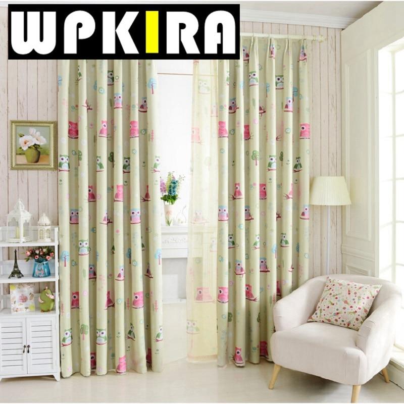 Cartoon owl blackout curtain fabric shade blinds window for Kids curtain fabric