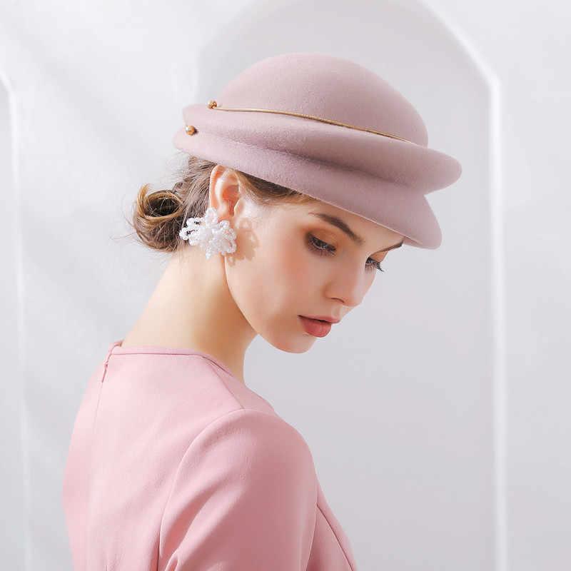 Mujer Otoño e Invierno fiesta Formal Fedora sombrero Inglaterra señora  Elengant Irregular gorra de boina de 5193110977e