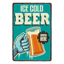 1 pc ice cold beer cheers bar best town served here tin Plates Signs wall plaques man cave decor Decoration vintage Poster metal