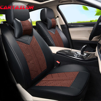 CARTAILOR Ice Silk Seat Cover Set fit for Audi a3 PU Leather Seats Covers & Supports Car Styling Protector Interior Accessories